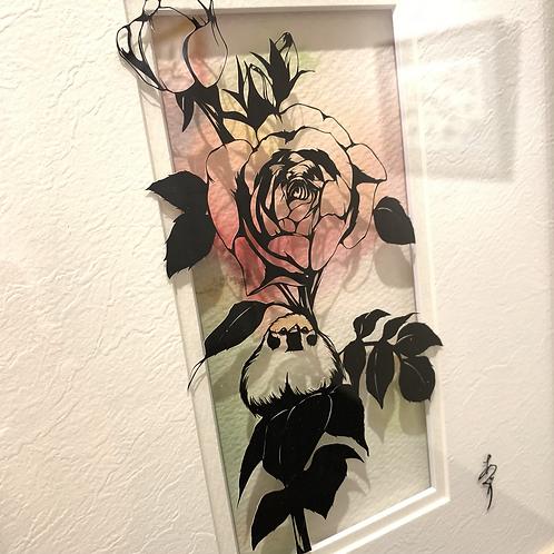 椿あぐり 作「めぐる季節のお庭シリーズ-薔薇と雀-」
