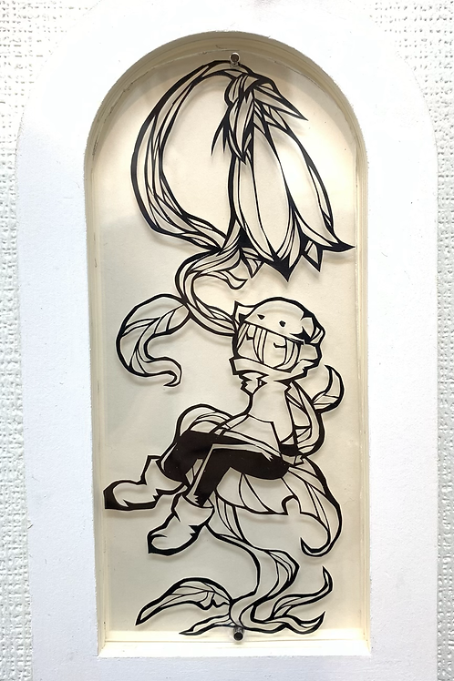 ウヅキユホ 作「花のベンチ」