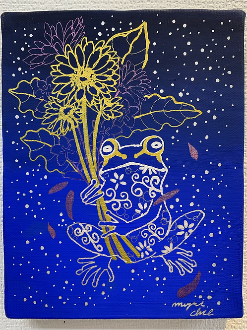 三好知恵 作「花束とカエル」