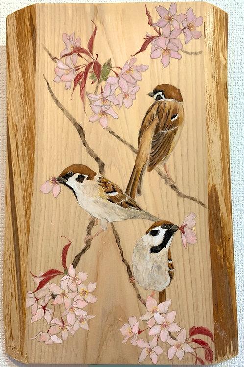 山田あき 作「花喰鳥」