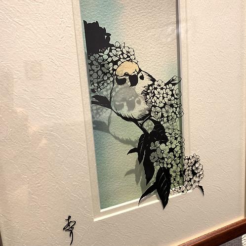 椿あぐり 作「めぐる季節のお庭シリーズ-小手鞠と雀-」