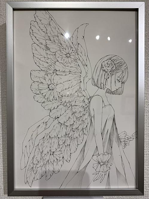 とあるお茶 作「お花の天使(線画)」