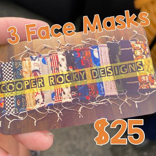 3 Face Masks for $25