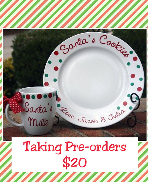 Personalized Santa's Cookie plate sets