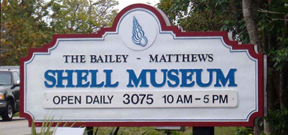 Old Bailey-Matthews National Shell Museum sign
