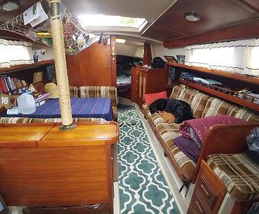 interior cabin of a Newport 30 MKII sailboat
