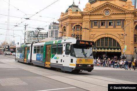 B2 Class tram 2065, outside Flinders Street station, Melbourne, 14 January 2017.