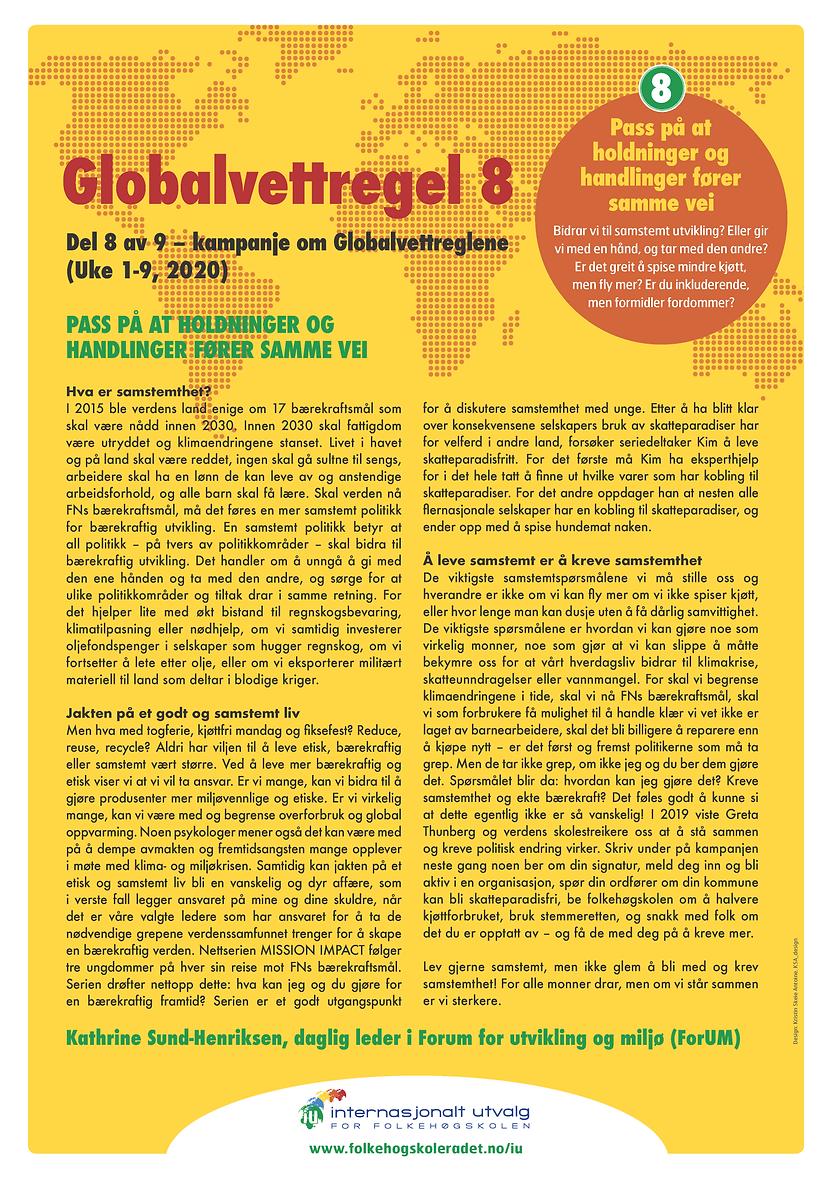 Globalvettregel 8 - skrevet av Kathrine