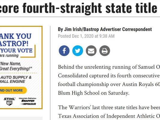 Warriors score fourth straight title