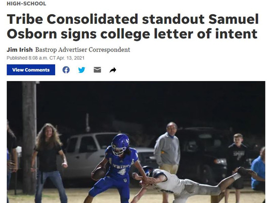 Tribe Consolidated standout Samuel Osborn signs college letter of intent
