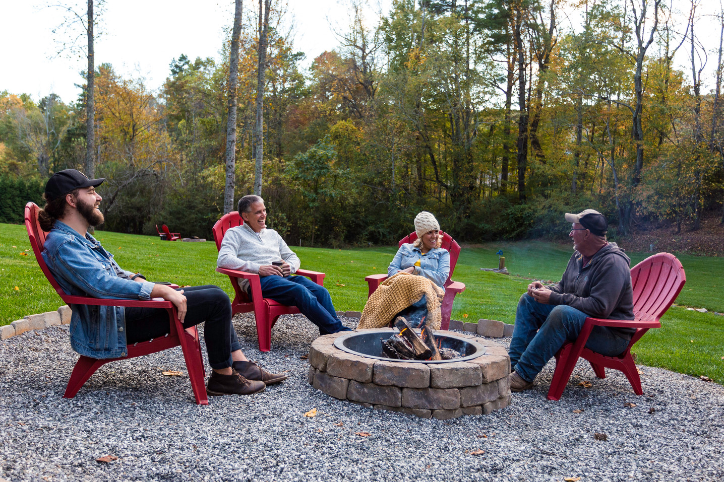 Family enjoying our firepit