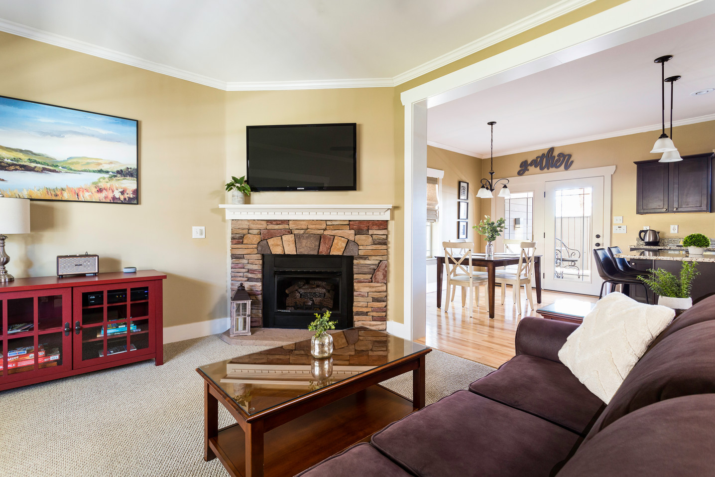 Living room with a large firespace