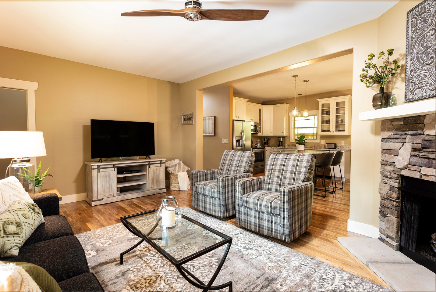 Large TV and luxurious ceiling fan