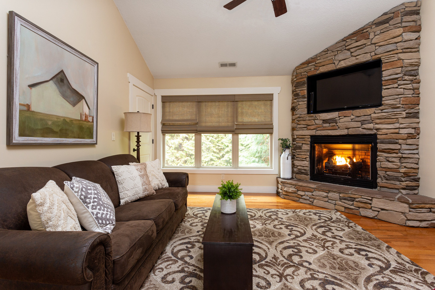 Enjoy a warm fireplace while watching TV