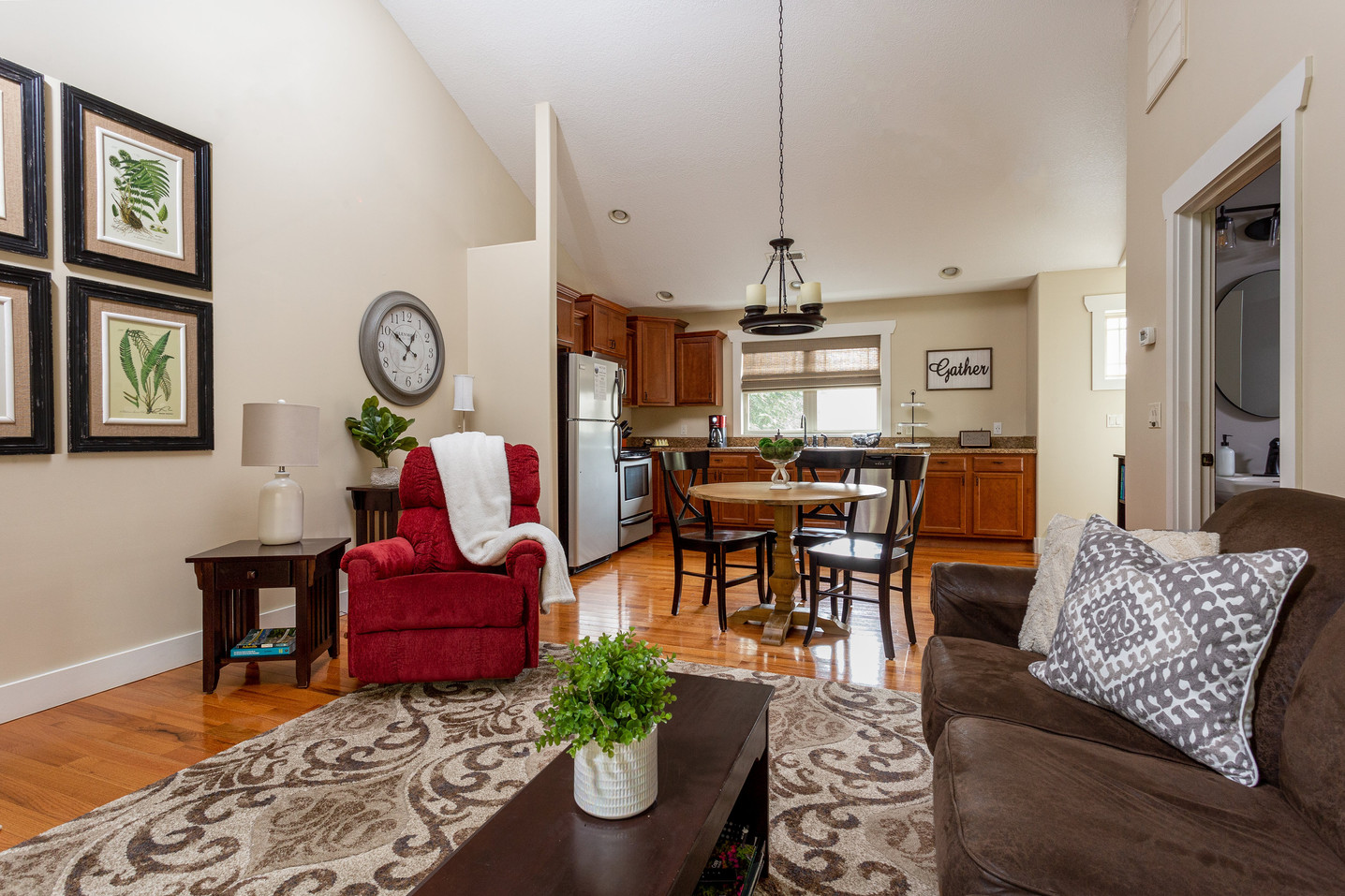 Spacious living room with cathedral ceilings