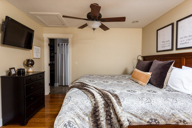 Ceiling fan over our king-size bed