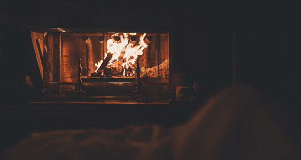 Sitting by a fire with a favorite drink is a small vacation in itself.