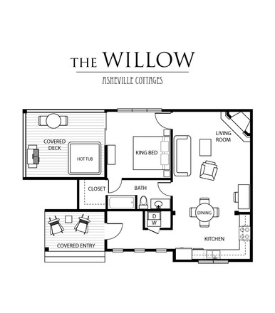 The floorplan of out 1 bedroom cabin for rent