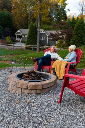 Beautiful firepits and manicured lawns