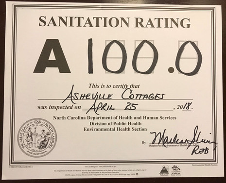 100% clean rating from the county