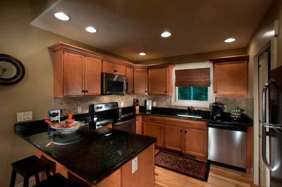 Over sized kitchen in this cabin for rent