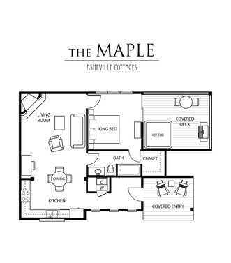 1 bedroom Maple floor plan