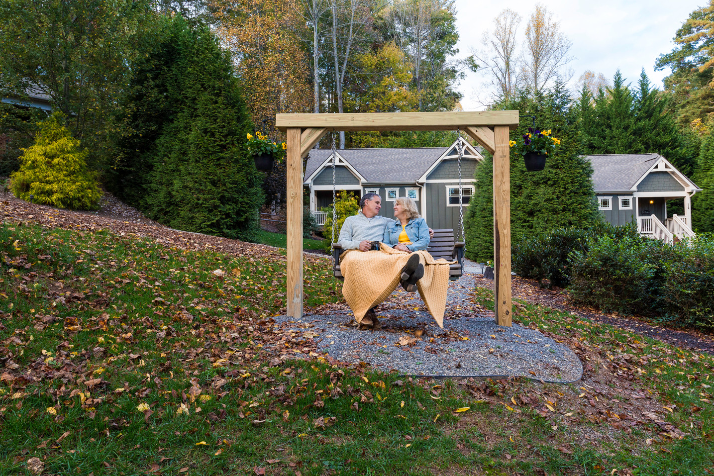 A romantic outdoor swing