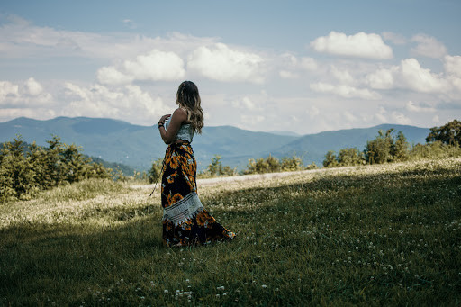 Walking in the grass on a plateau near Asheville, NC