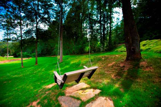 The swing at our cabins in Asheville