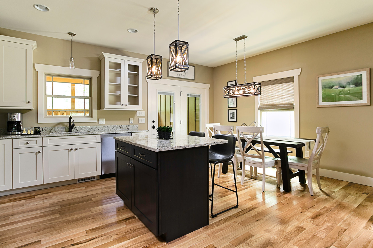 Large kitchen island in this vacation rental with granite counter tops