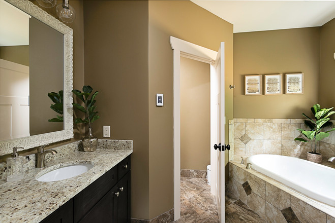 Updated bathroom with a garden tub