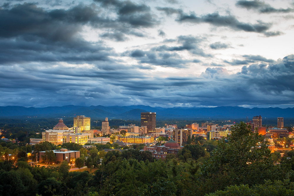 Downtown Asheville in the evening