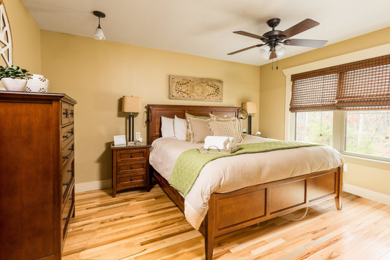 King size bed in this cabin rental Asheville