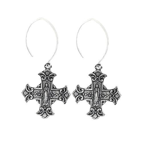 Floral Cross Silver Earring