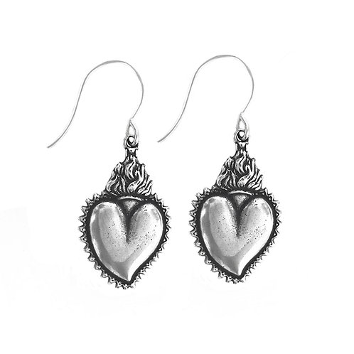 Flaming  Heart Earring