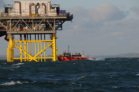 Rampion wind farm transfer vessel Gaillion pushing on the Rampion array Sub station access laddr.