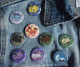 "Eeveelutions ""Go Away"" Button Packs"