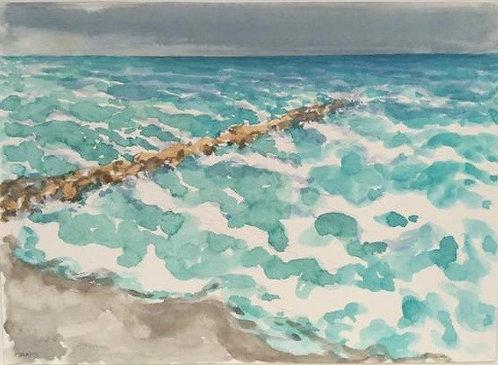 Breakwater and Turbulent Sea