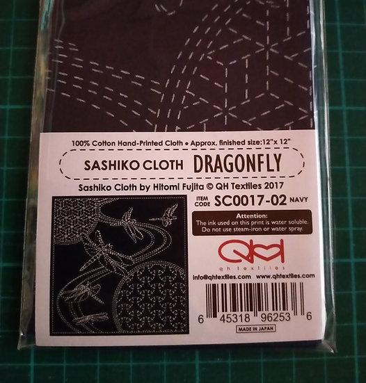 Sashiko Cloth Pattern SC0017-02 Navy Dragonfly