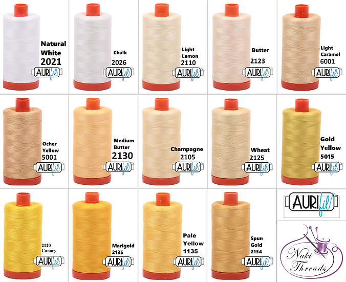 Colour Group 1 Aurifil Thread 50 Wt 100% Cotton