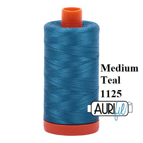 1125 Medium Teal  Aurifil Thread 50 Wt 100% Cotton