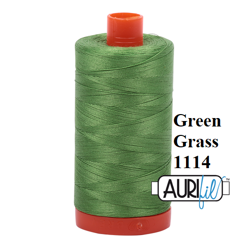 1114 Green Grass  Aurifil Thread 50 Wt 100% Cotton