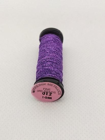 012 Purple  Kreinik Metallic Fine Braid #8