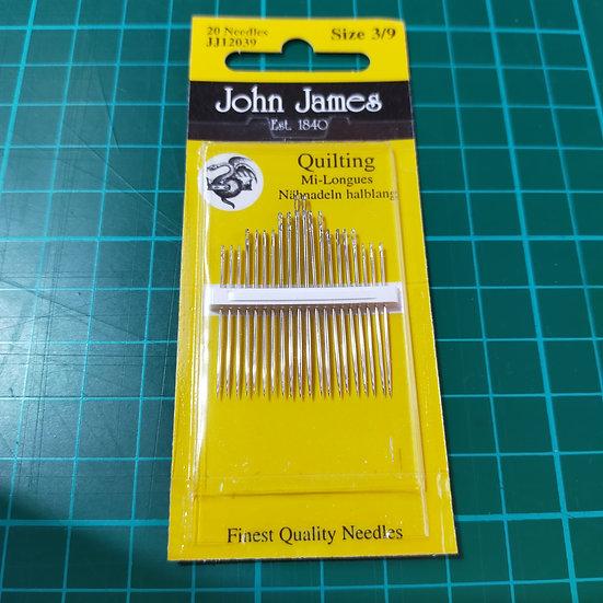 JJ12039 John James Needles  Quilting Sizes 3/9