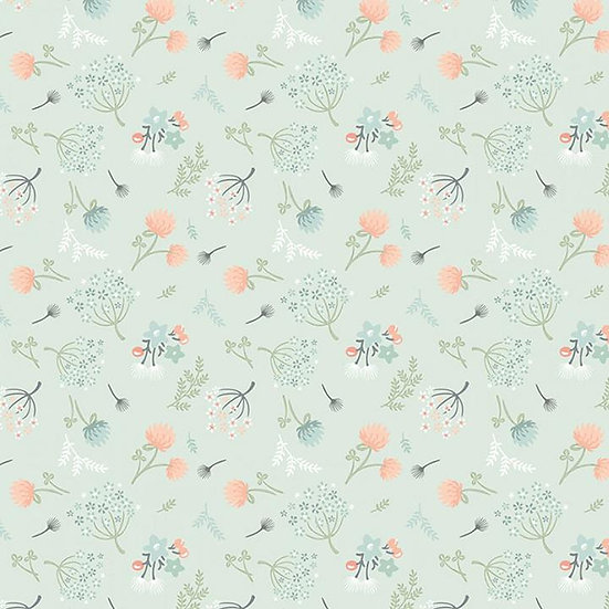 54710 Woodland Songbirds Poppie Cotton  Floral Mint