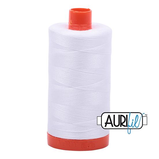 2024 White Aurifil Thread 50 Wt 100% Cotton