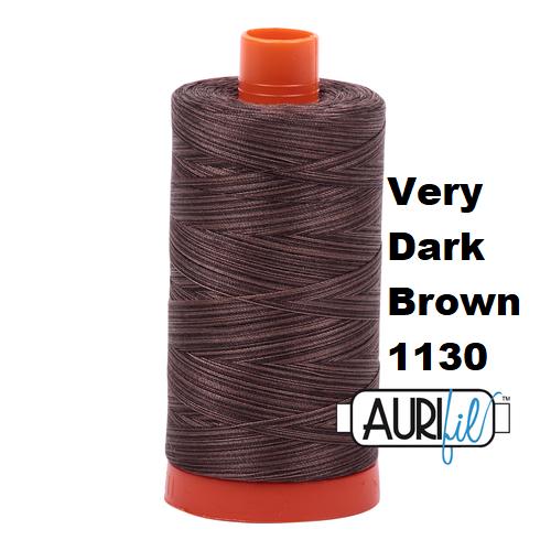 1130 very dark brown  Aurifil Thread 50 Wt 100% Cotton