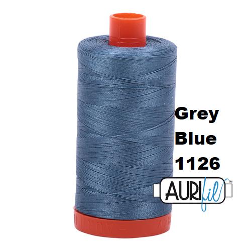 1126 grey blue  Aurifil Thread 50 Wt 100% Cotton