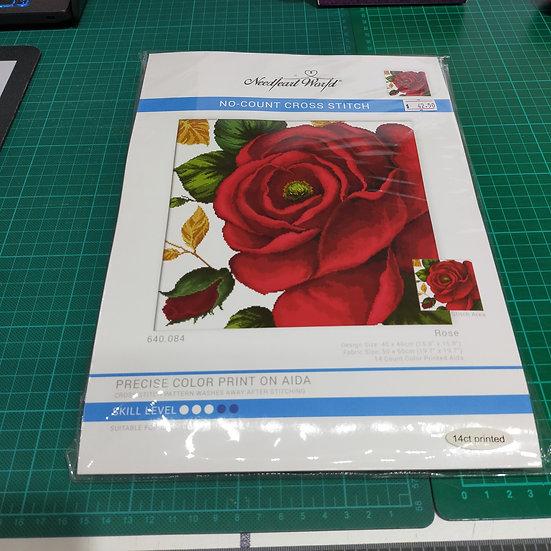 MC640.084 Needle Art World-No count cross stitch  Rose