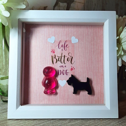 Life Is Better With A Dog Jelly Baby Picture (19x19cm)